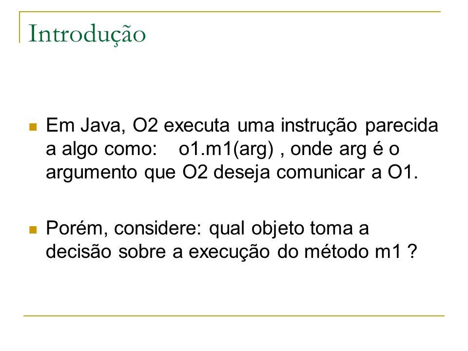 Introdução Em Java, O2 executa uma instrução parecida a algo como: o1.m1(arg) , onde arg é o argumento que O2 deseja comunicar a O1.
