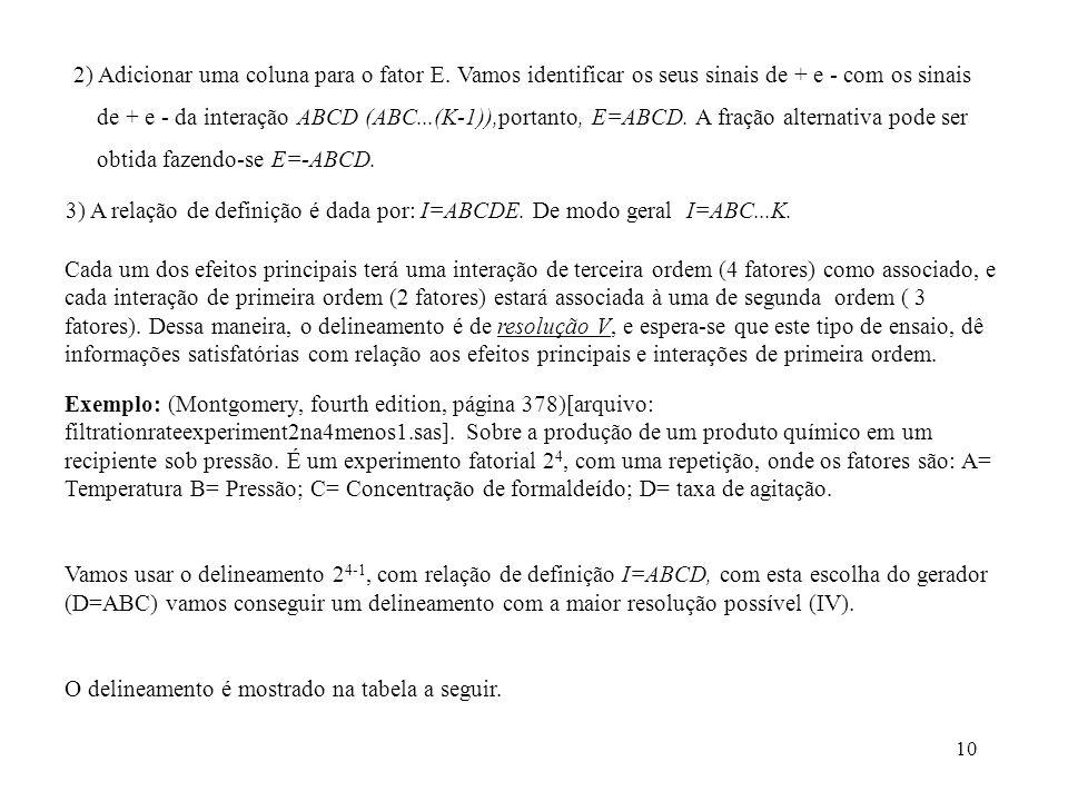 2) Adicionar uma coluna para o fator E