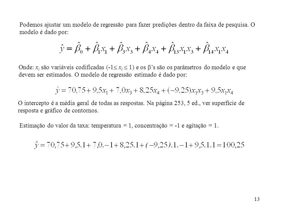 Podemos ajustar um modelo de regressão para fazer predições dentro da faixa de pesquisa. O modelo é dado por: