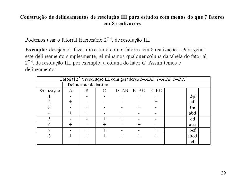 Construção de delineamentos de resolução III para estudos com menos do que 7 fatores em 8 realizações