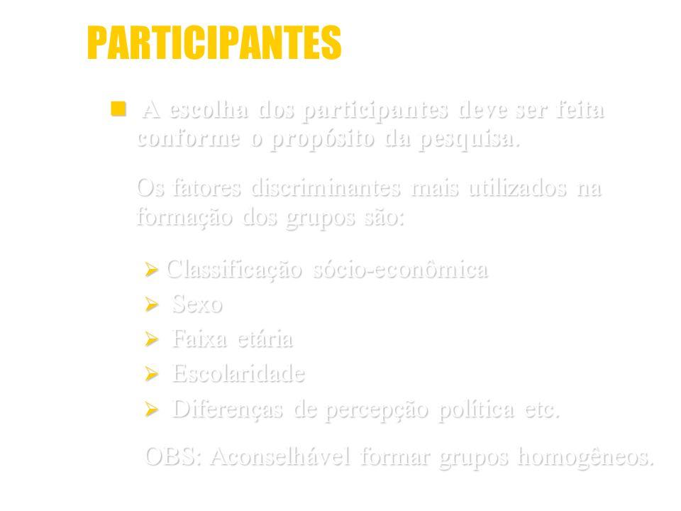 PARTICIPANTES A escolha dos participantes deve ser feita conforme o propósito da pesquisa.