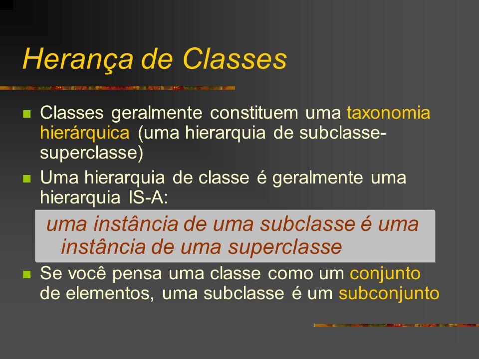 Herança de Classes Classes geralmente constituem uma taxonomia hierárquica (uma hierarquia de subclasse-superclasse)