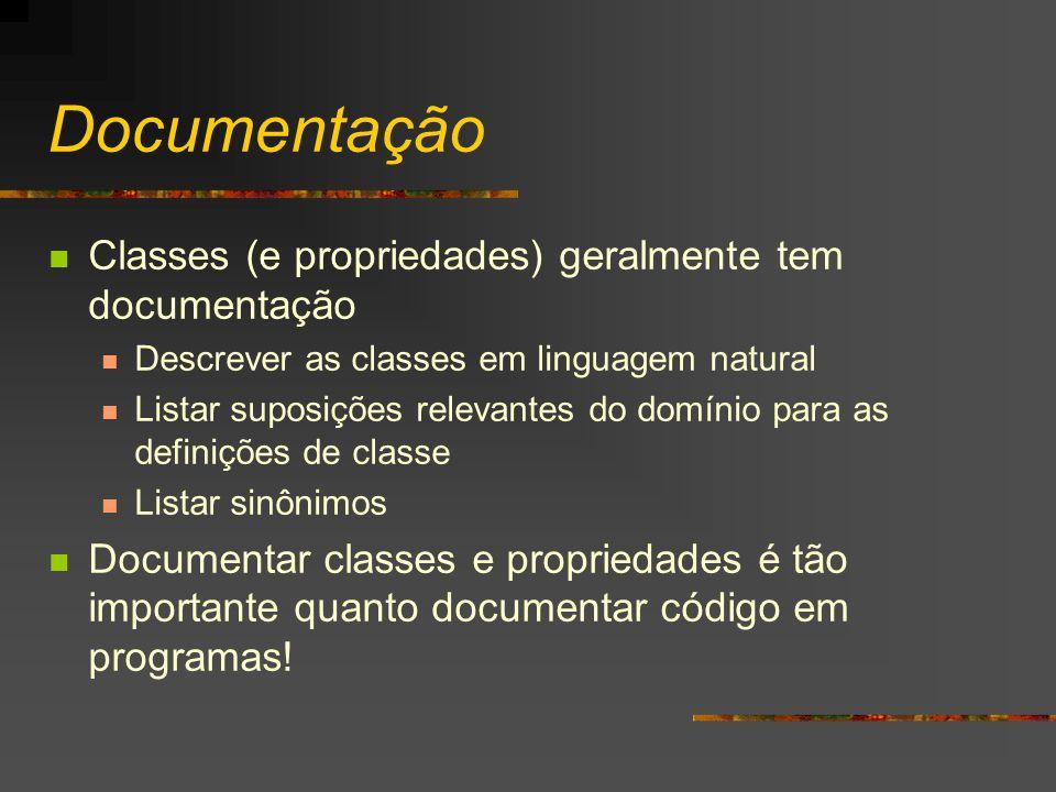 Documentação Classes (e propriedades) geralmente tem documentação