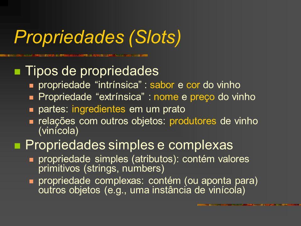 Propriedades (Slots) Tipos de propriedades