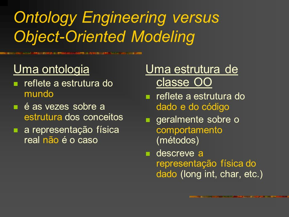 Ontology Engineering versus Object-Oriented Modeling