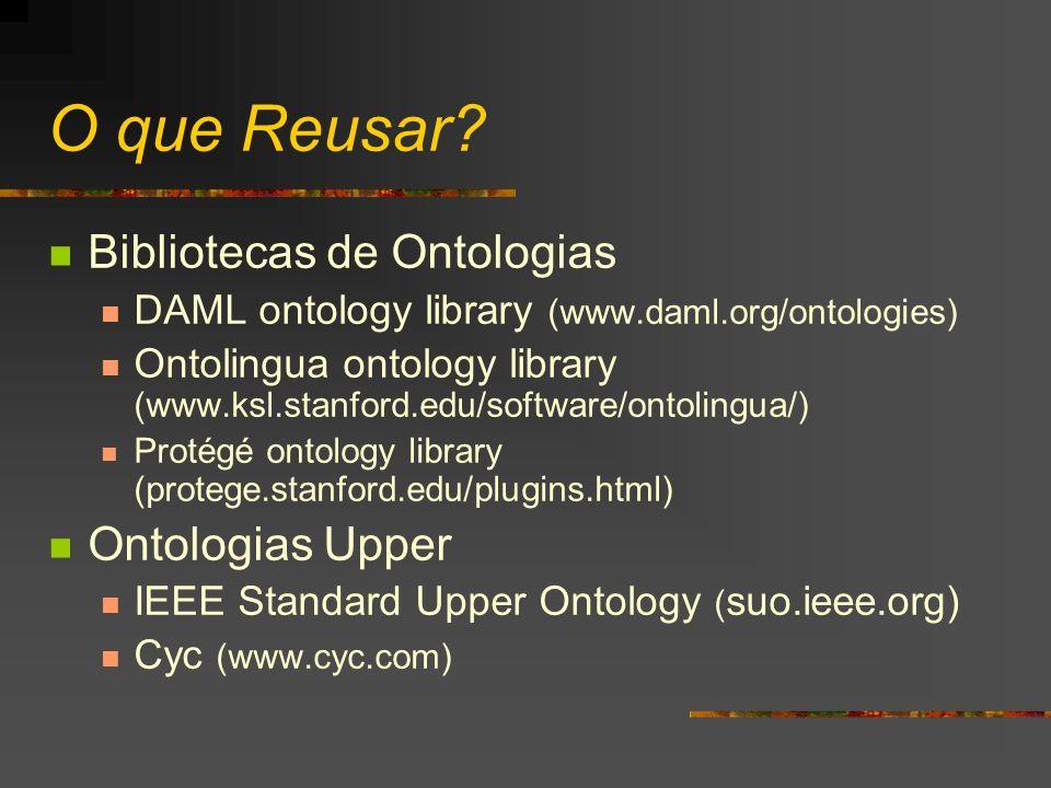 O que Reusar Bibliotecas de Ontologias Ontologias Upper