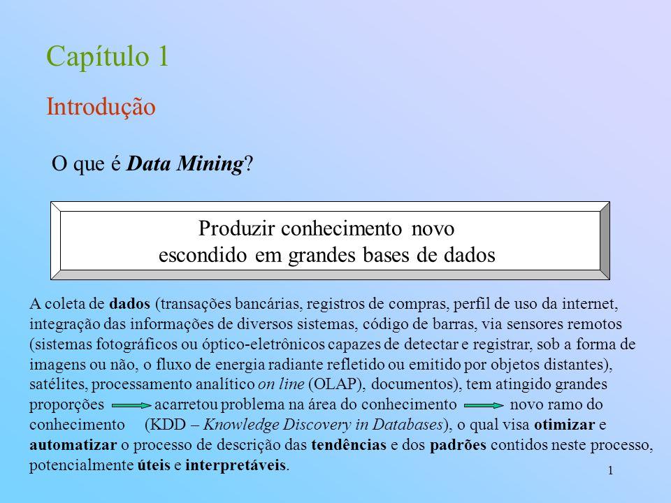 Capítulo 1 Introdução O que é Data Mining Produzir conhecimento novo