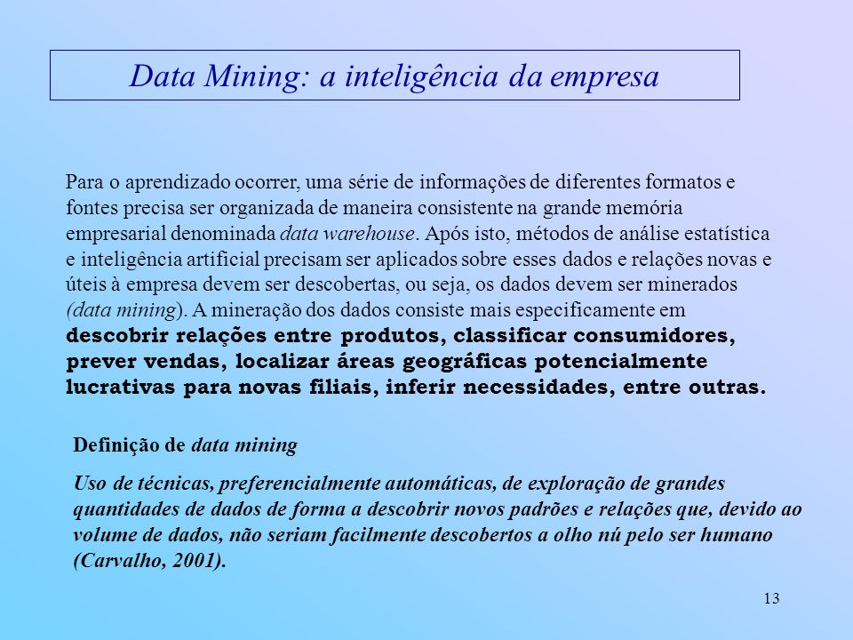 Data Mining: a inteligência da empresa