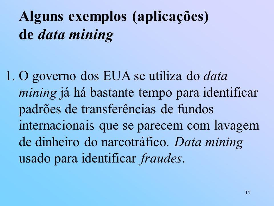 Alguns exemplos (aplicações) de data mining