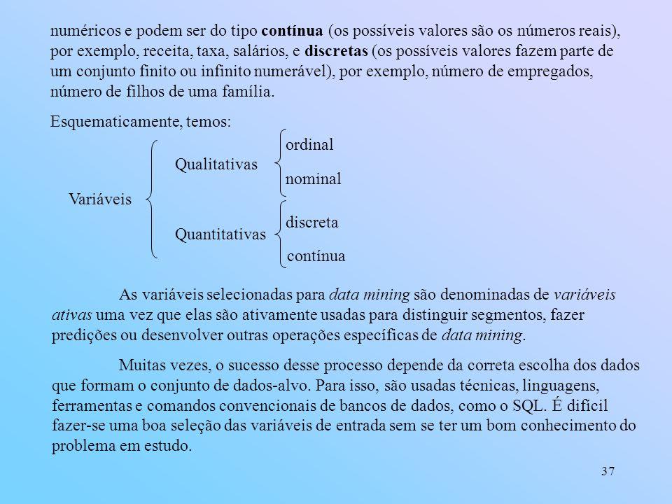 numéricos e podem ser do tipo contínua (os possíveis valores são os números reais), por exemplo, receita, taxa, salários, e discretas (os possíveis valores fazem parte de um conjunto finito ou infinito numerável), por exemplo, número de empregados, número de filhos de uma família.