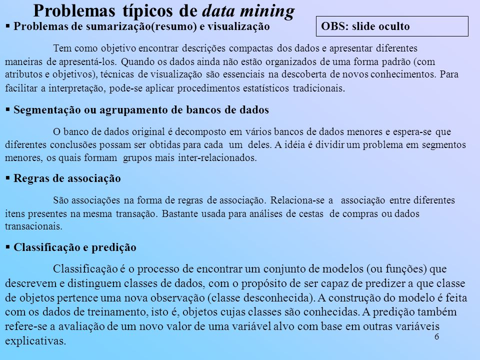 Problemas típicos de data mining