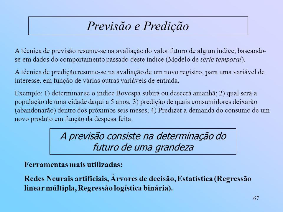 A previsão consiste na determinação do futuro de uma grandeza