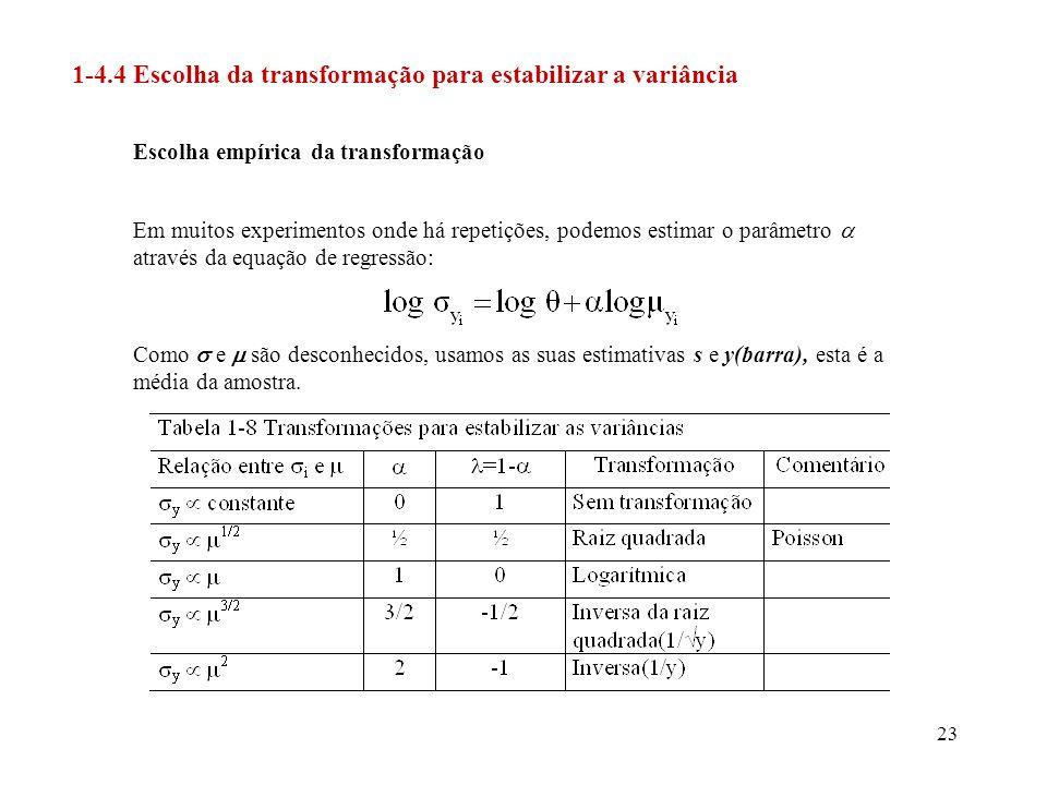 1-4.4 Escolha da transformação para estabilizar a variância