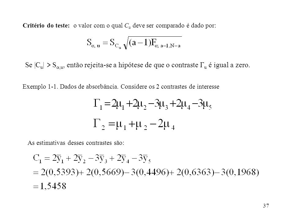 Critério do teste: o valor com o qual Cu deve ser comparado é dado por:
