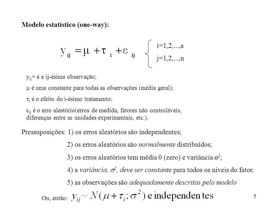 Modelo estatístico (one-way):