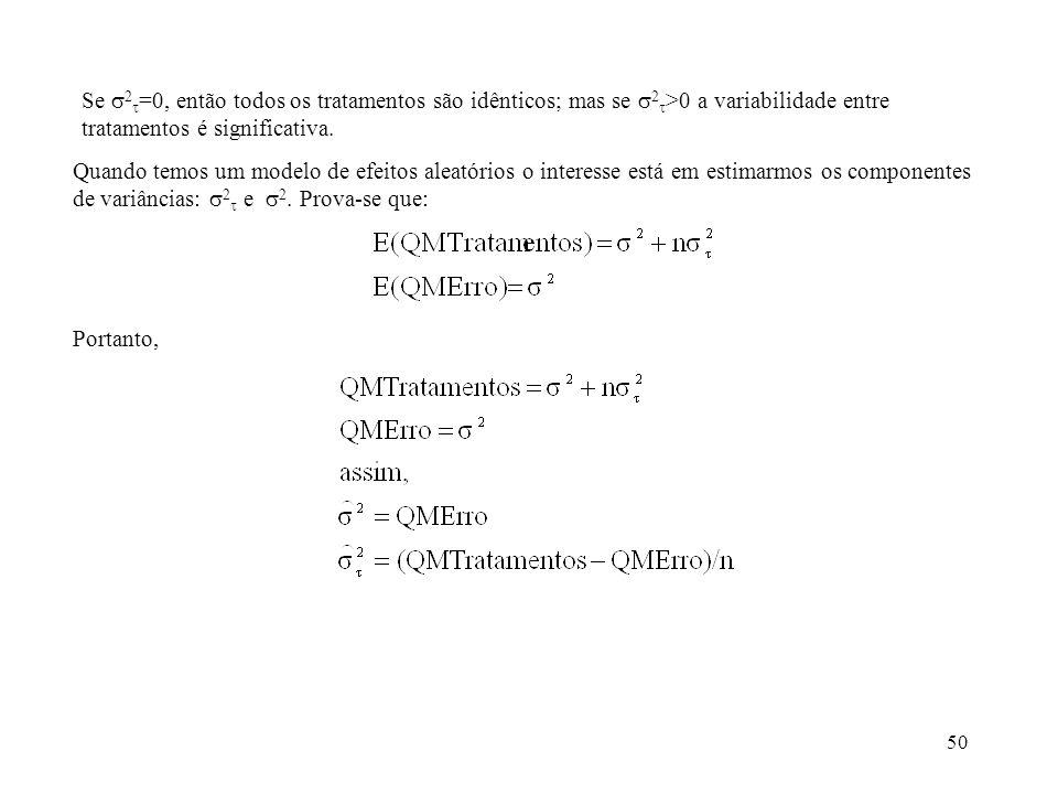 Se 2=0, então todos os tratamentos são idênticos; mas se 2>0 a variabilidade entre tratamentos é significativa.