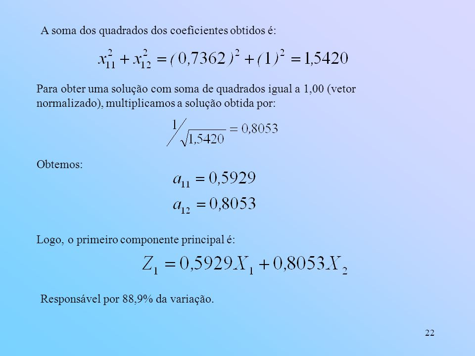 A soma dos quadrados dos coeficientes obtidos é: