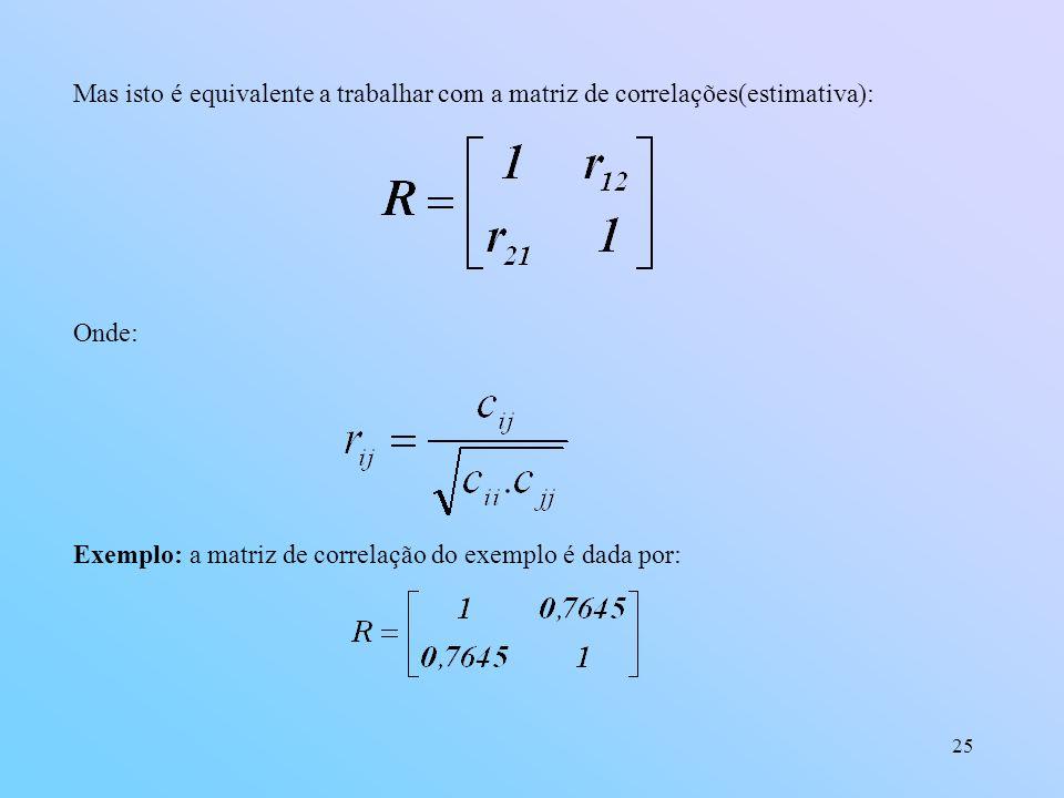 Mas isto é equivalente a trabalhar com a matriz de correlações(estimativa):