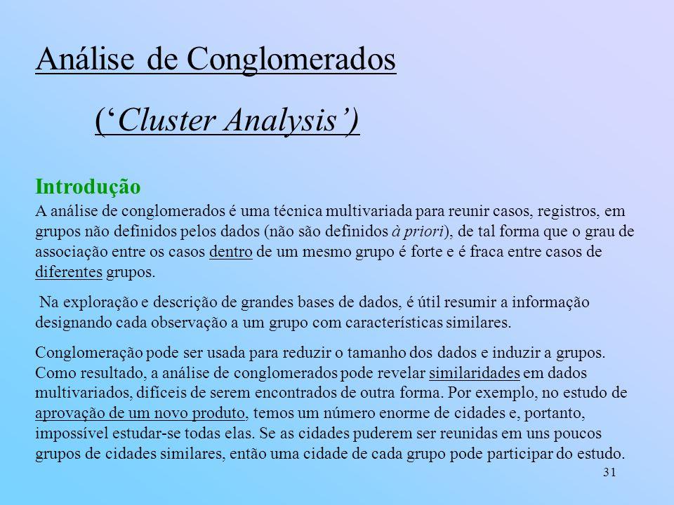 Análise de Conglomerados ('Cluster Analysis')
