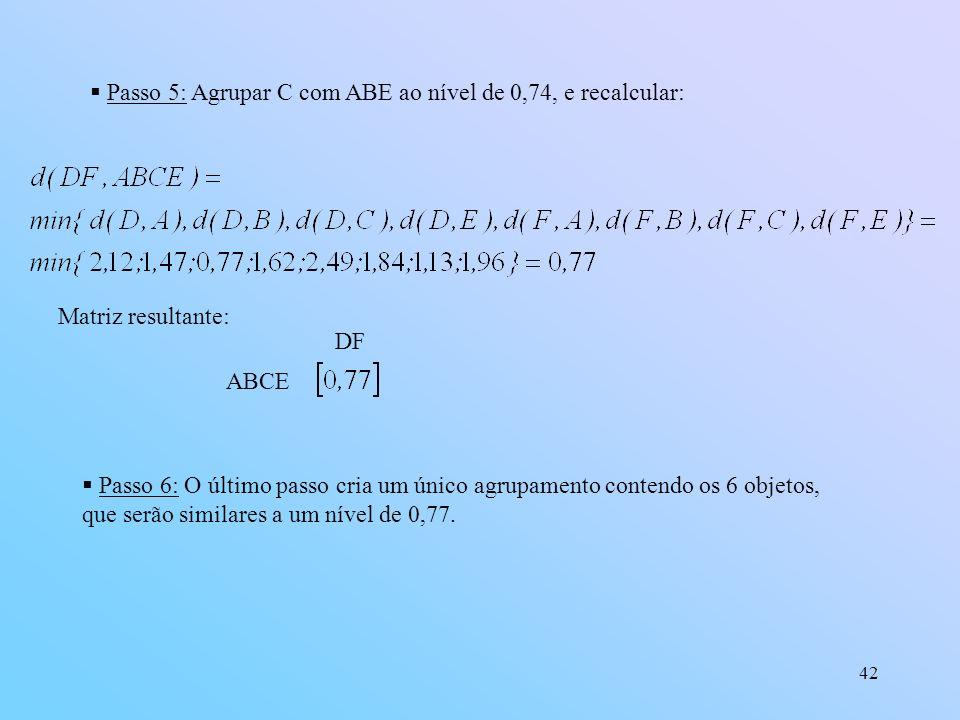 Passo 5: Agrupar C com ABE ao nível de 0,74, e recalcular: