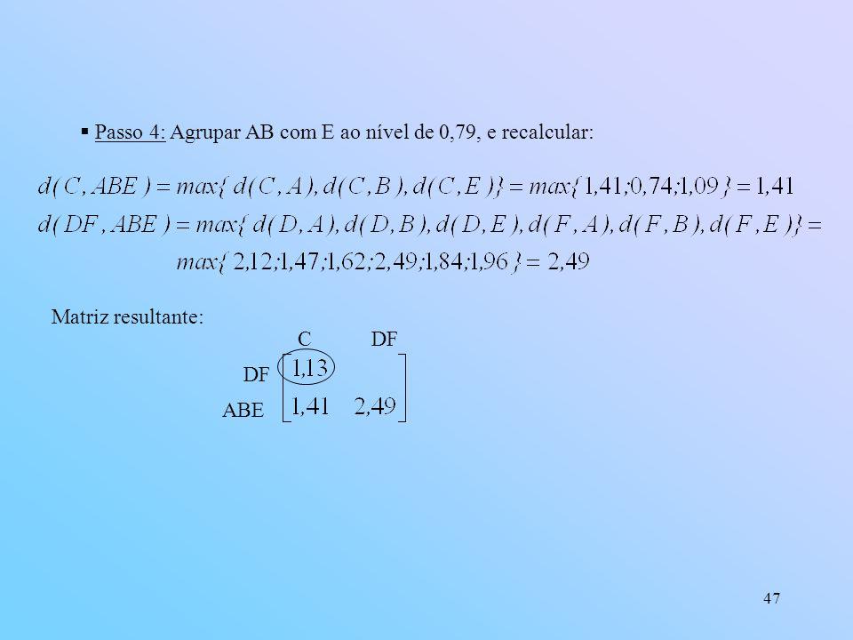 Passo 4: Agrupar AB com E ao nível de 0,79, e recalcular: