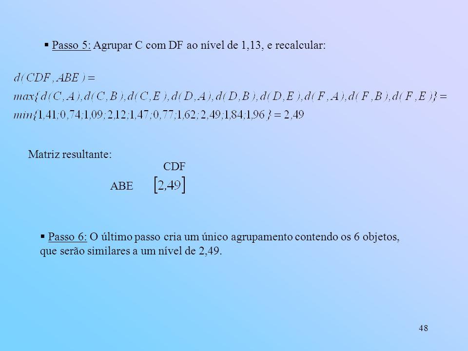 Passo 5: Agrupar C com DF ao nível de 1,13, e recalcular: