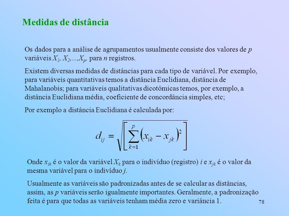 Medidas de distância Os dados para a análise de agrupamentos usualmente consiste dos valores de p variáveis X1, X2,...,Xp, para n registros.