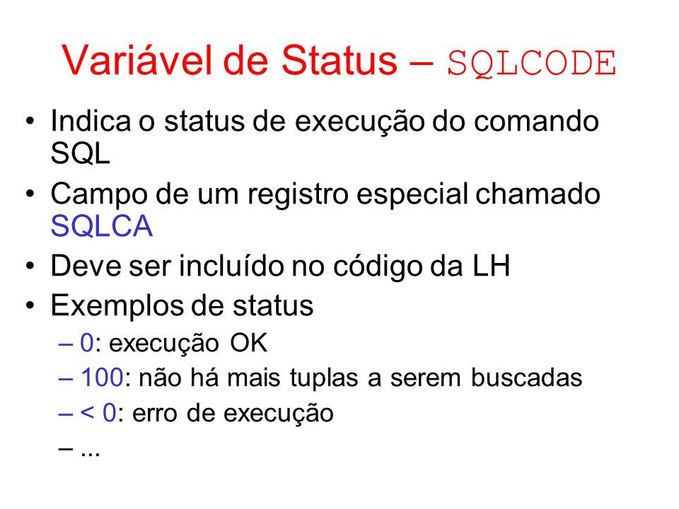 Variável de Status – SQLCODE