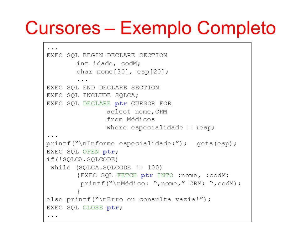 Cursores – Exemplo Completo
