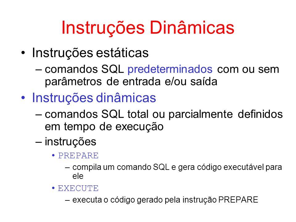 Instruções Dinâmicas Instruções estáticas Instruções dinâmicas