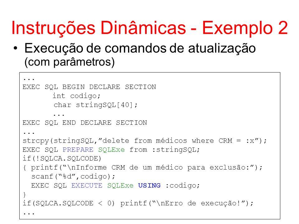 Instruções Dinâmicas - Exemplo 2