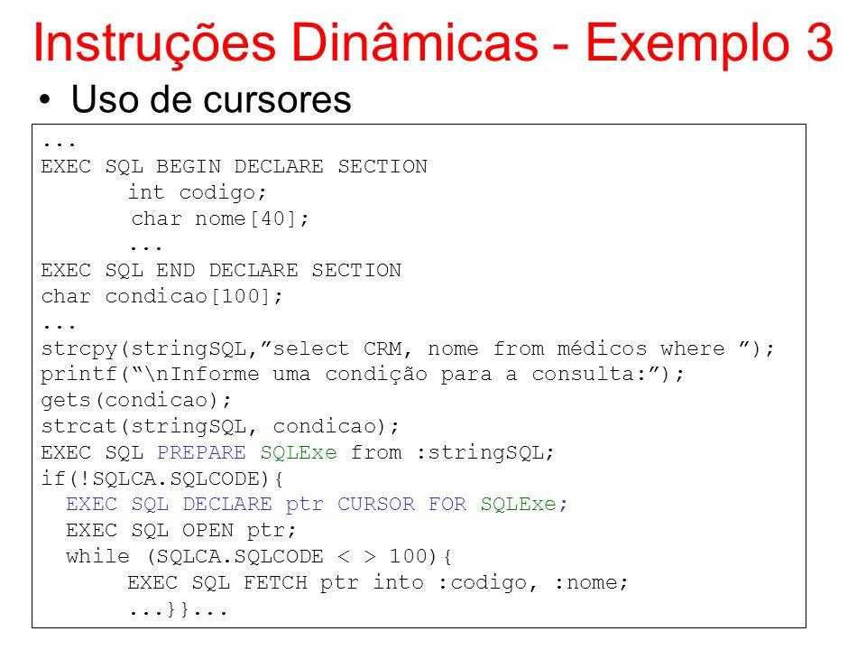 Instruções Dinâmicas - Exemplo 3