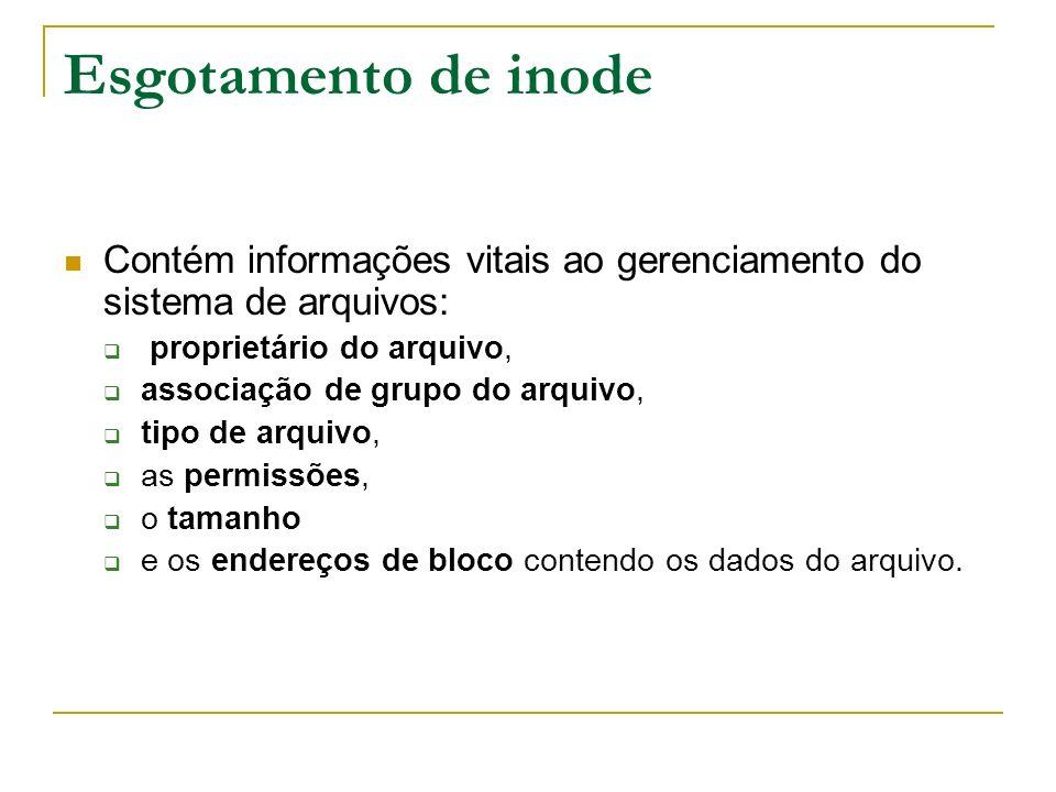Esgotamento de inode Contém informações vitais ao gerenciamento do sistema de arquivos: proprietário do arquivo,