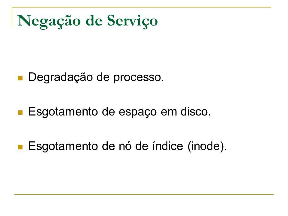 Negação de Serviço Degradação de processo.