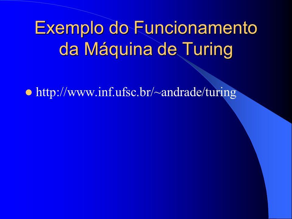 Exemplo do Funcionamento da Máquina de Turing