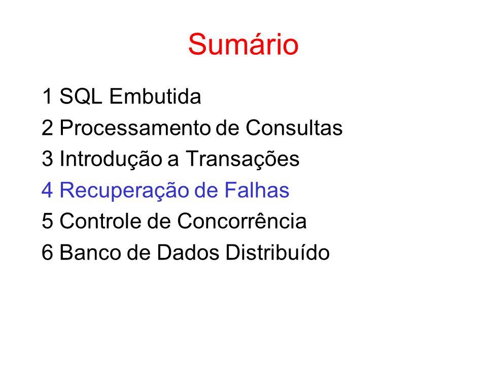 Sumário 1 SQL Embutida 2 Processamento de Consultas