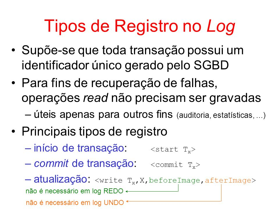 Tipos de Registro no Log