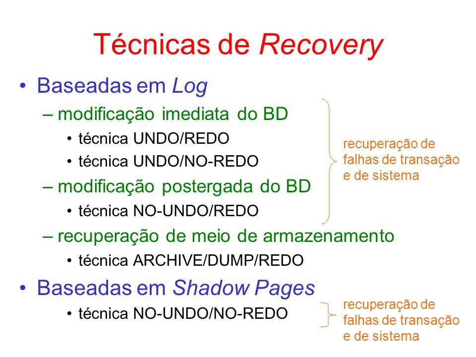 Técnicas de Recovery Baseadas em Log Baseadas em Shadow Pages