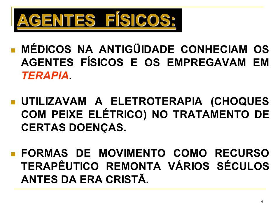 AGENTES FÍSICOS:MÉDICOS NA ANTIGÜIDADE CONHECIAM OS AGENTES FÍSICOS E OS EMPREGAVAM EM TERAPIA.