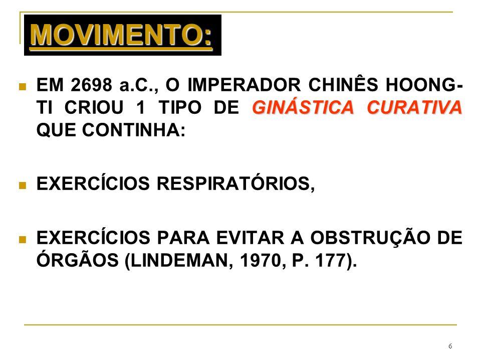 MOVIMENTO:EM 2698 a.C., O IMPERADOR CHINÊS HOONG-TI CRIOU 1 TIPO DE GINÁSTICA CURATIVA QUE CONTINHA: