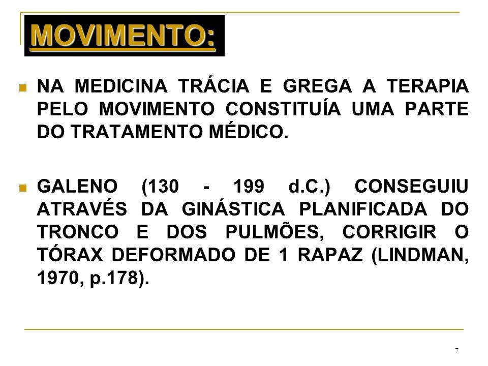 MOVIMENTO: NA MEDICINA TRÁCIA E GREGA A TERAPIA PELO MOVIMENTO CONSTITUÍA UMA PARTE DO TRATAMENTO MÉDICO.