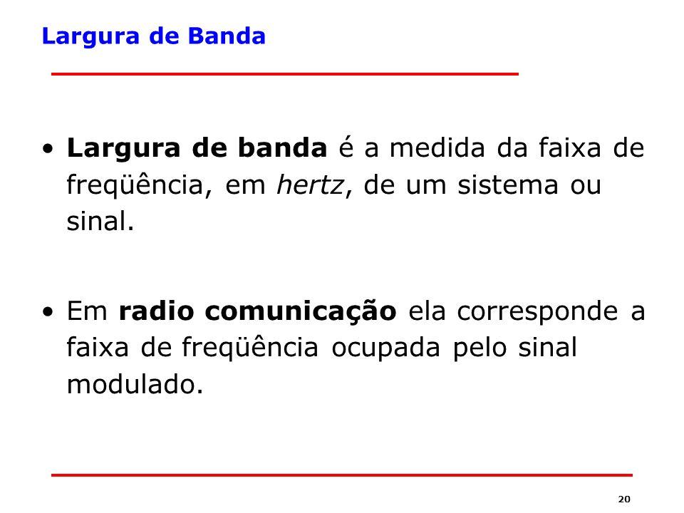 Largura de Banda Largura de banda é a medida da faixa de freqüência, em hertz, de um sistema ou sinal.