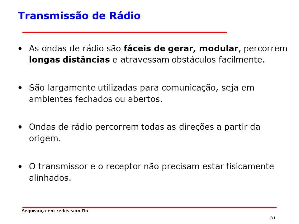 Transmissão de Rádio As ondas de rádio são fáceis de gerar, modular, percorrem longas distâncias e atravessam obstáculos facilmente.