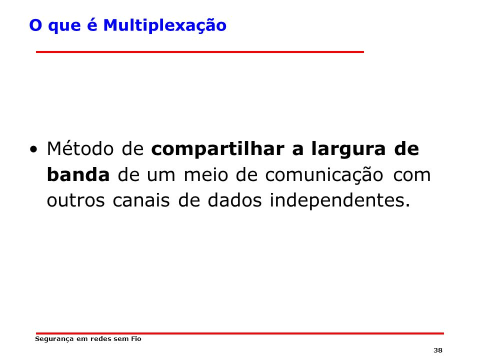 O que é Multiplexação Método de compartilhar a largura de banda de um meio de comunicação com outros canais de dados independentes.