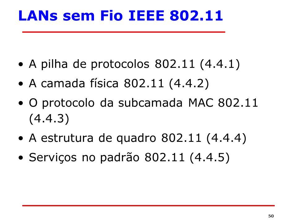 LANs sem Fio IEEE 802.11 A pilha de protocolos 802.11 (4.4.1)