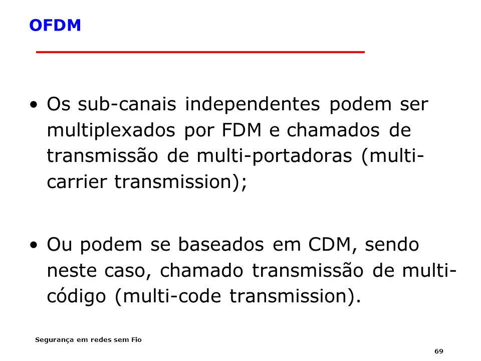 OFDM Os sub-canais independentes podem ser multiplexados por FDM e chamados de transmissão de multi-portadoras (multi-carrier transmission);