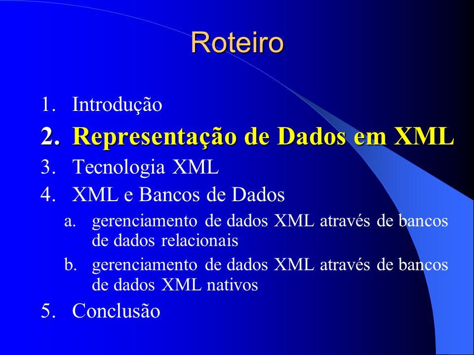 Roteiro Representação de Dados em XML Introdução Tecnologia XML