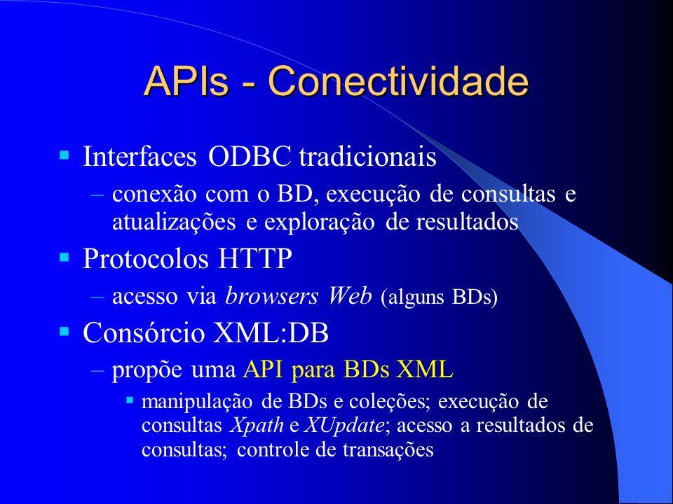 APIs - Conectividade Interfaces ODBC tradicionais Protocolos HTTP