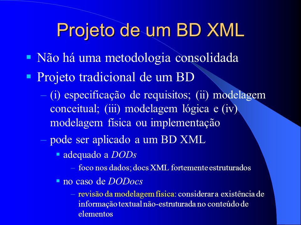 Projeto de um BD XML Não há uma metodologia consolidada