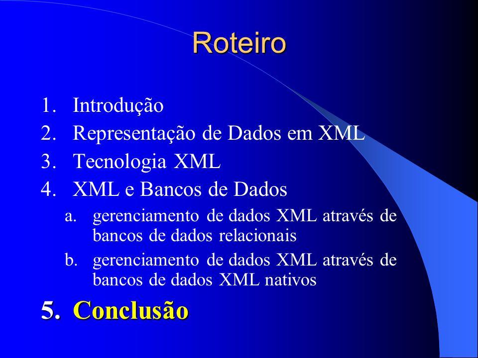 Roteiro Conclusão Introdução Representação de Dados em XML